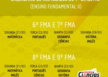 Calendário de Simulados do Primeiro Bimestre - Fundamental II
