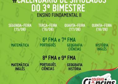 Calendário de Simulados do 3º Bimestre - Ensino Fundamental II